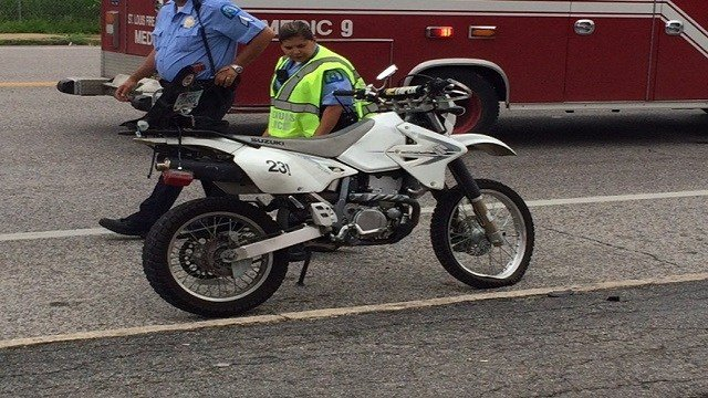 The scene of a motorcycle crash at Gravois and Russell. (Photo: Steve Gurley)