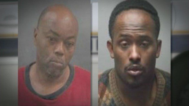 Michael Farmer, 50, (left) and Michael Thompson, 27, (right) are charged with armed robbery, armed criminal action, and resisting arrest.