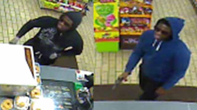 This shows a surveillance picture from each robbery