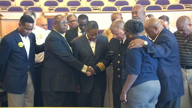 St. Louis Police Chief Sam Dotson joins with the St. Louis Clergy Coalition to host a prayer vigil for peace in the city.