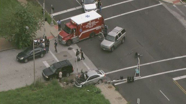 A reportedly vehicle crashed after a police pursuit in north St. Louis.