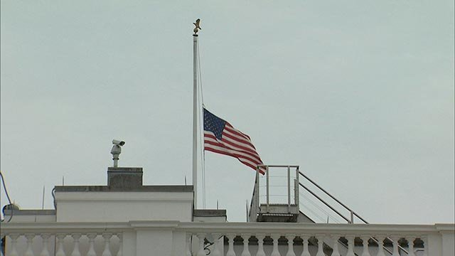 To honor the four Marines and one sailor killed in Chattanooga, Tennessee on Thursday, July 16, 2015, President Obama ordered flags to be flown at half-staff. (Credit: CNN)