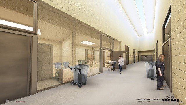 A 'one of a kind' airport terminal catering to pets and livestock will feature a swimming pool, suites equipped with flat-screen TVs, customized departure lounges and around-the-clock medical care. (Photo: CNN)
