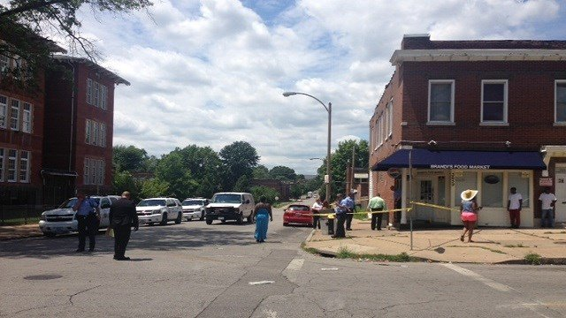 Two men were injured in a shooting near Brandi's Food Market in south St. Louis on Wednesday afternoon.