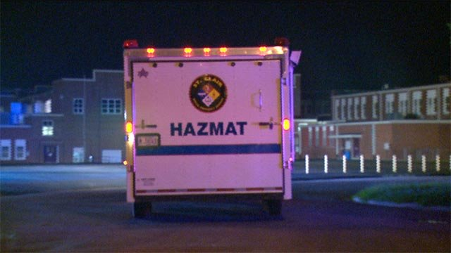 HazMat crews responded to a chemical spill at Dupo High School Friday night