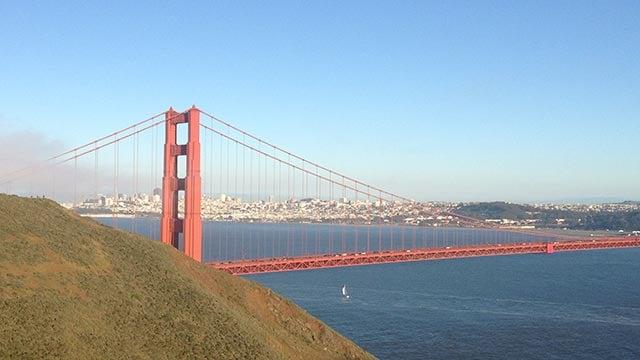 San Francisco skyline and the Golden Gate Bridge on April 30, 2012. (Credit: CNN)