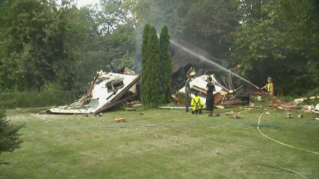 A home in Caseyville, Ill. exploded over the weekend, and three of four dogs who were thought to be dead were found alive.