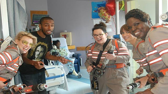 "The all-female cast of the upcoming ""Ghostbusters"" remake visited children at Tufts Medical Center in Boston, Massachusetts, on Saturday, August 1, 2015. (Credit: Tufts Medical Center)"