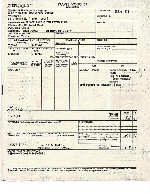 Apollo-era Astronaut Buzz Aldrin recently shared forms related to his 1969 trip to the moon. (Credit: Buzz Aldrin/Twitter)
