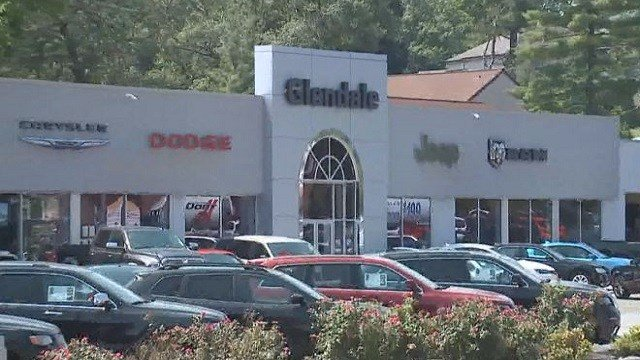 Suspects broke into the Glendale Chrysler dealership but left empty-handed before stealing six vehicles from Suntrup Ford.