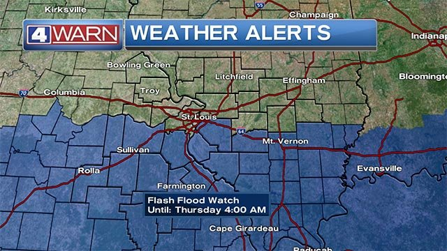A Flash Flood Watch is in effect until 4 a.m. Thursday