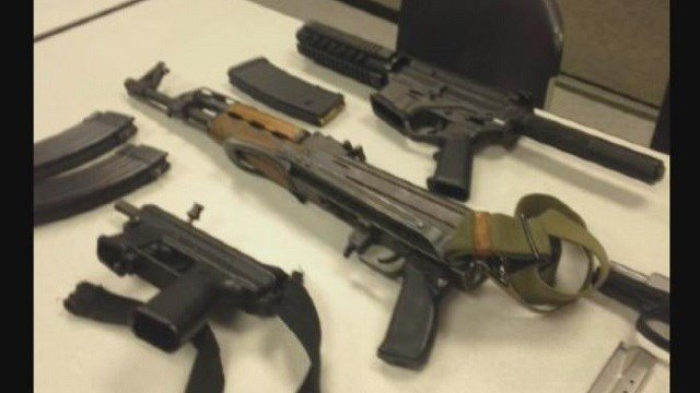 St. Louis Police share a photograph of seized weapons and high capacity magazines they have taken off the streets.