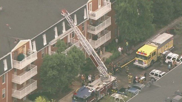 One person was injured at an apartment building fire on Wednesday afternoon.