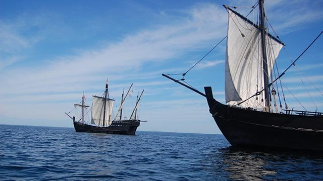 Replicas of the Nina and Pinta will dock in Grafton Thursday. (Credit: www.ninapinta.org)