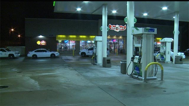 Two men armed with guns entered the BP gas station at South Kingshighway and Manchester Road around 12:15 Thursday morning.