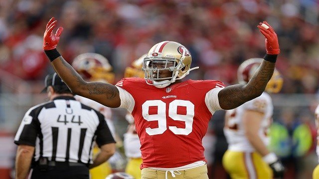 San Francisco 49ers linebacker Aldon Smith (99) against the Washington Redskins during an NFL football game in Santa Clara, Calif., Sunday, Nov. 23, 2014. (AP Photo/Ben Margot)