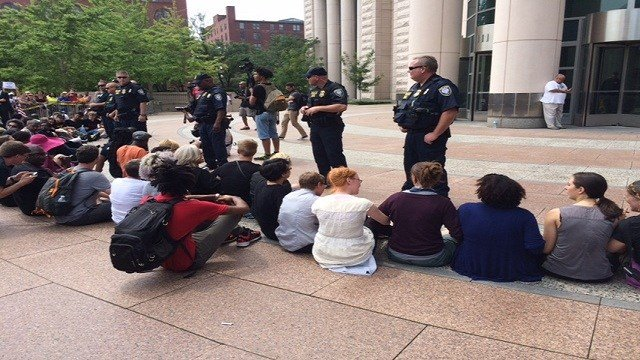 Protesters were arrested outside the Federal Building off Spruce street Monday afternoon.