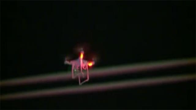A drone was spotted flying over the Ferguson protests Monday night