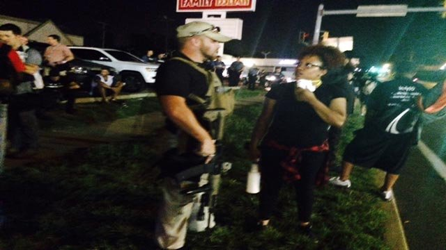 A group of men who call themselves 'Oath Keepers' were spotted in Ferguson Monday night