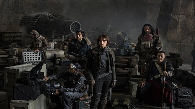 Lucasfilm, Disney Tweet First Cast photo for Star Wars: Rogue One. Left to Right: Actors Riz Ahmed, Diego Luna, Felicity Jones, Jiang Wen and Donnie Yen. (Credit: Lucasfilm 2016)