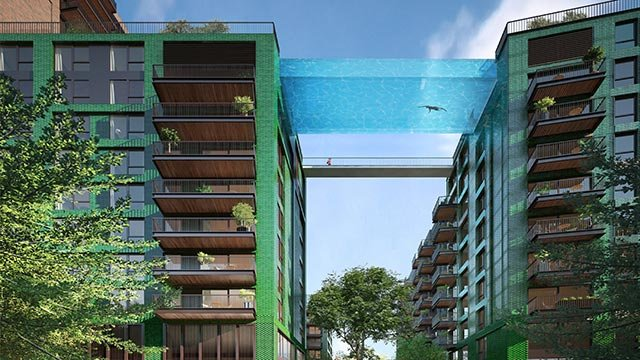 City officials have given developers permission to build a transparent aquarium-like swimming pool hanging 10 stories above the ground. (Credit; Ballymore)