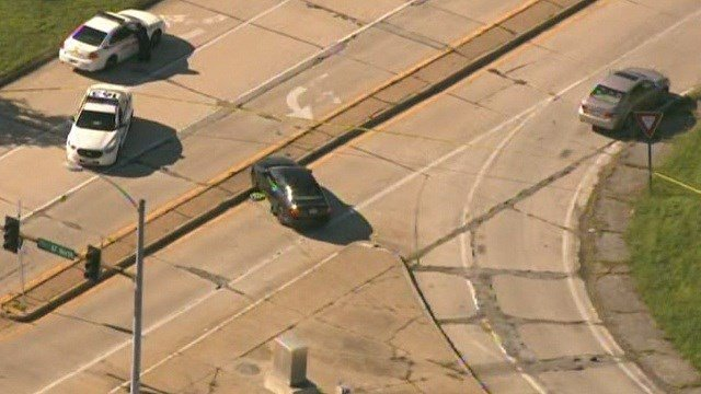 The view from Skyzoom4 shows an accident which reportedly involved an officer in North County