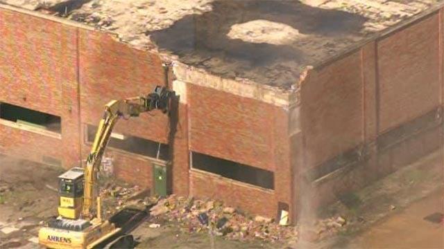 Demolition of the Carter Carburetor plant in north St. Louis began Monday morning