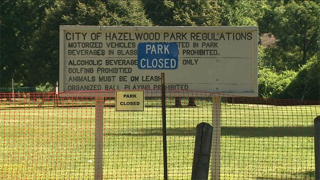 St. Cin Park in Hazelwood was closed Monday while crews worked to cleanup soil that was contaminated with radioactive material.