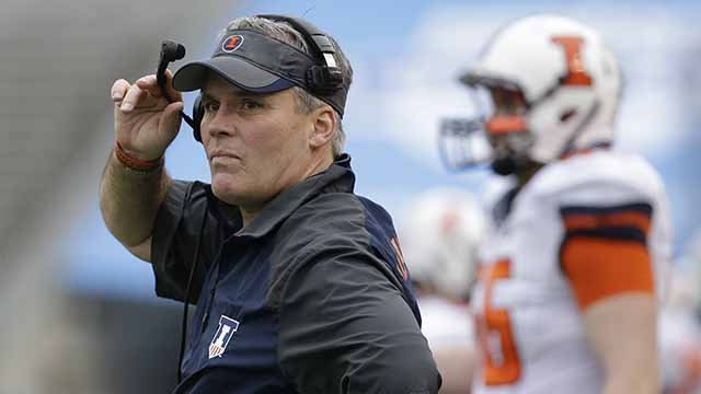 University of Illinois head coach Tim Beckman watches from the sidelines during the Heart of Dallas Bowl NCAA college football game against Louisiana Tech in Dallas. Illinois fired football coach Tim Beckman Friday, Aug. 28, 2015
