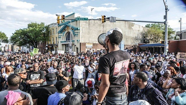 Photographer Lawrence Bryant with CNN affiliate The St. Louis American captured this scene of ongoing protests in Baltimore, Maryland on May 3, 2015.