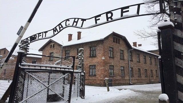 """Main Gate, Auschwitz Camp 1 Arbeit Macht Frei - """"Work makes you free""""."""
