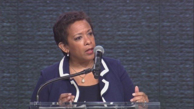 United States Attorney General Loretta Lynch speaks on the recent violence against police at a press conference in Washington D.C. on Wednesday.
