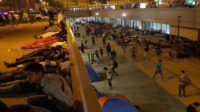 Lower ground of Keleti Station in Budapest, Hungary, filled with hundreds of refugees overnighting on September 2, 2015.