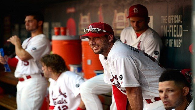 ST. LOUIS, MO - JULY 4: Adam Wainwright #50 of the St. Louis Cardinals sits in the dugout with teammates during the sixth inning against the San Diego Padres at Busch Stadium on July 4, 2015 in St. Louis, Missouri. (Photo by Jeff Curry/Getty Images)