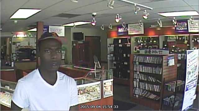 The St. Louis County Police Department is searching for the man they say robbed the Cash America Pawn on St. Charles Rock Road in St. Louis