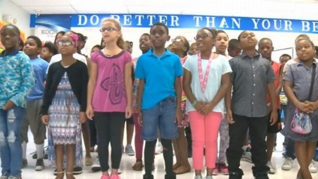 Students at Koch Elementary dedicated a special song to remember their former classmate, Jamyla Bolden.