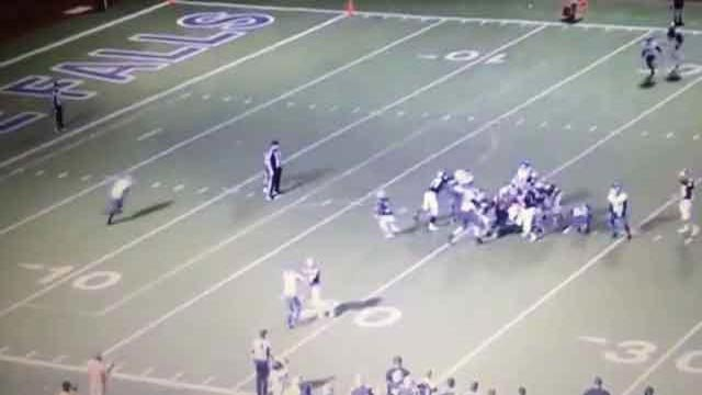 Video from a Texas high school football game shows two players possibly intentionally hitting a referee during gameplay. (Source: YouTube/screenshot)