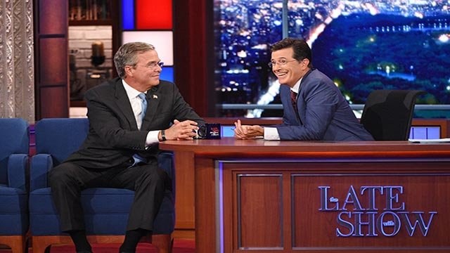 Republican Presidential candidate Jeb Bush chats with Stephen on the premiere of The Late Show with Stephen Colbert, Tuesday Sept. 8, 2015 on the CBS Television Network. (Credit: Jeffrey R. Staab/CBS)