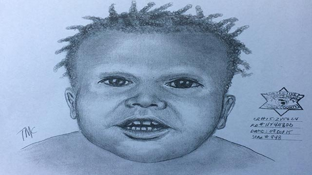 This is the sketch released by the Chicago Police Department September 10, 2015, of the child whose dismembered remains were found in Garfield Park near Chicago's New West Side Saturday, September 5, 2015. (Credit: Chicago Police Department)