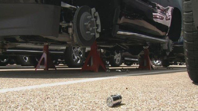 An investigation is underway after two suspects stole12 tires from Jim Butler Chevrolet dealership in Fenton, Mo.