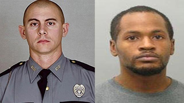 Trooper Joseph Cameron Ponder (L) was fatally shot by Joseph Thomas Johnson-Shanks (R) Sunday night, according to police.