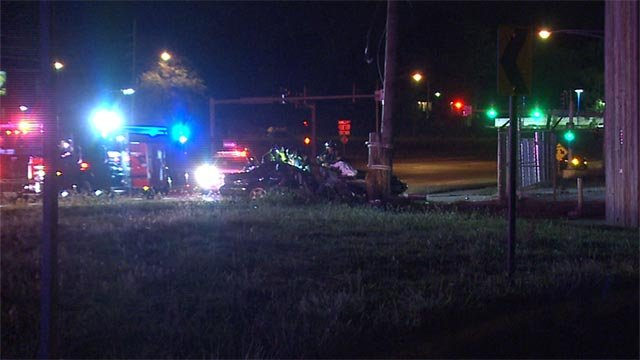 A woman's foot was severed following a shooting and crash at Lillian near Jennings Station Road Monday night