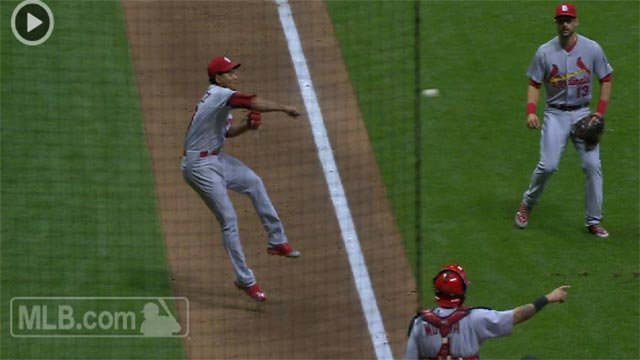Carlos Martinez made an amazing off-balance throw during Tuesday night's game against the Brewers. (Credit: MLB.com)