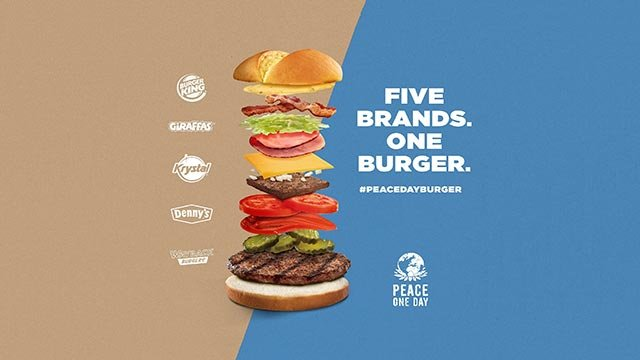 Four restaurant chains have signed on to Burger King's stunt to mash their hamburger recipes together to create a monster burger. (Credit: Burger King)