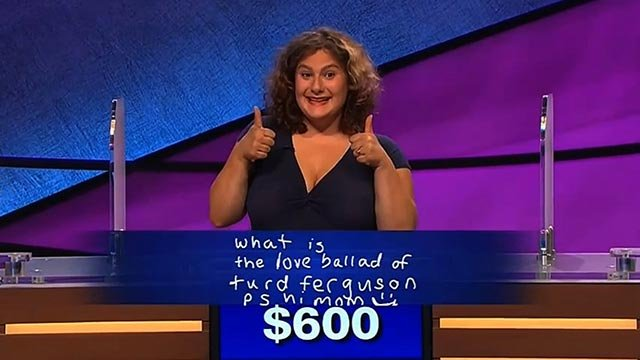 "Jeopardy contestant Talina Lavin managed to get ""Jeopardy"" host Alex Trebek to say ""Turd Ferguson"" during final jeopardy Wednesday, Sept. 16, 2015. (Credit: Jeopardy Productions)"