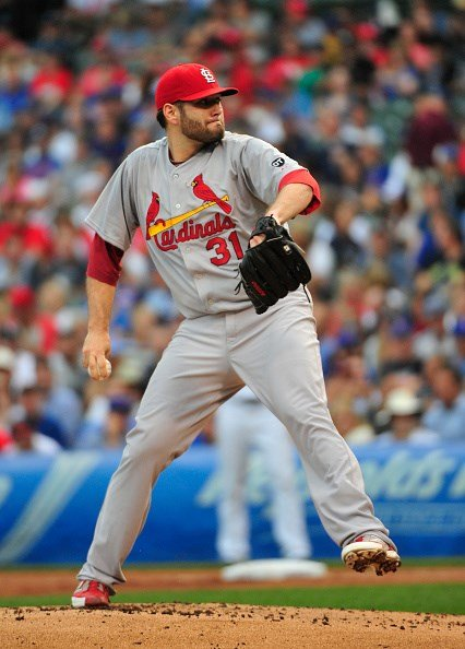 SEPTEMBER 18: Lance Lynn #31 of the St. Louis Cardinals pitches against the Chicago Cubs during the first inning on September 18, 2015 at Wrigley Field in Chicago, Illinois. (Photo by David Banks/Getty Images)