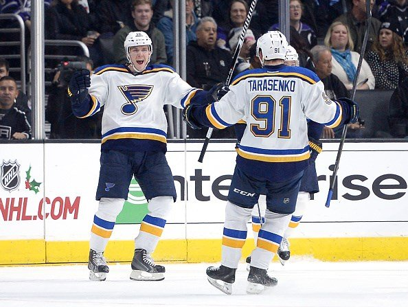 LOS ANGELES, CA - DECEMBER 18: Jori Lehtera #12 of the St. Louis Blues celebrates his goal with Vladimir Tarasenko #91 to take a 4-3 lead over the Los Angeles Kings during the second period at Staples Center on December 18, 2014 in Los Angeles, California