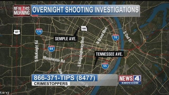 2 shootings Saturday night in south St. Louis and in north city.