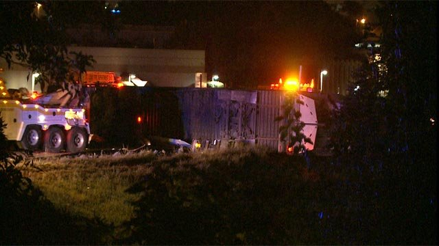 A tractor trailer overturned, causing fuel to leak in the eastbound lanes of I-44 Monday morning