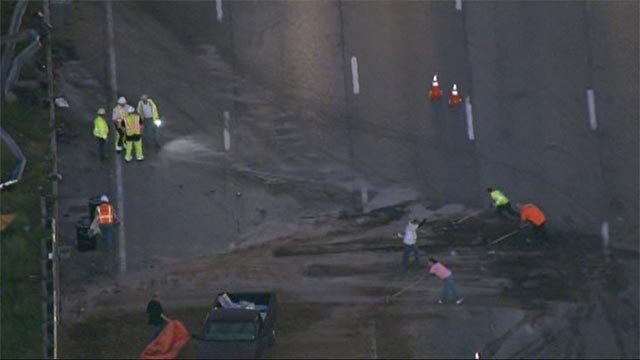 Monday morning crews were working to cleanup following the accident on EB I-44 at Hampton